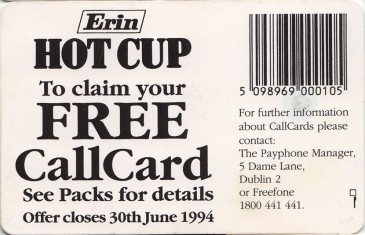 Erin Hot Cup '94 Back