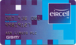 Eircell 087 network PUK code card