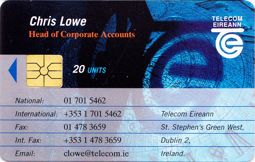 Chris lowe telecom eireann business card the irish callcards site chris lowe telecom eireann business card front reheart Gallery